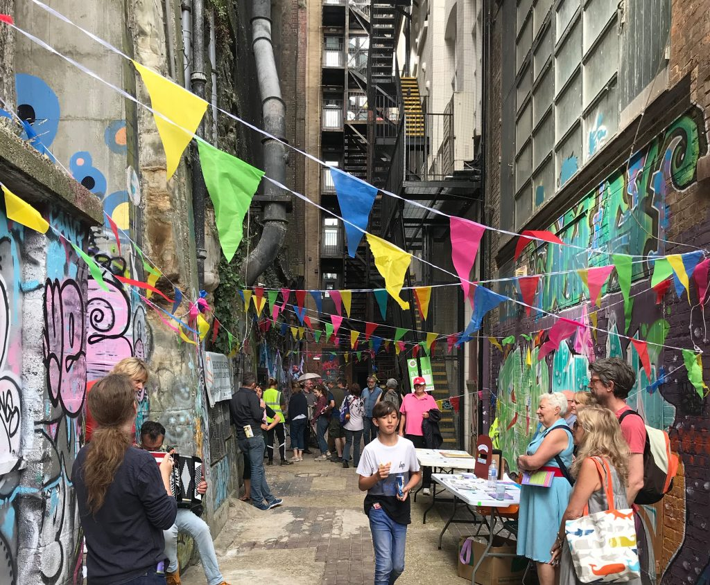 people and bunting